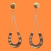 1880 Victorian 14 Karat Yellow Gold Victorian Diamond Horseshoe Dangle Earrings