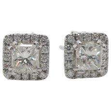 14 Karat White Gold Princess Cut Diamond Halo Stud Earrings