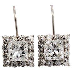 14 Karat White Gold 3.00 Carat Diamond Drop Earrings