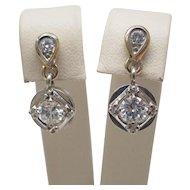 1950's Retro Diamond Dangle Earrings in 14K Two Tone White & Yellow Gold