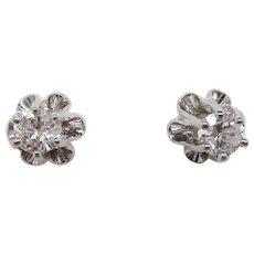 14 Karat White Gold Buttercup Setting Diamond Stud Earrings