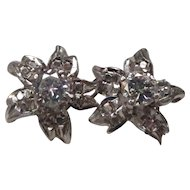 Diamond 14 Karat Gold Flower Earrings