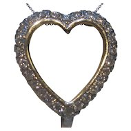 1950's Diamond Heart 14K White Gold Pendant