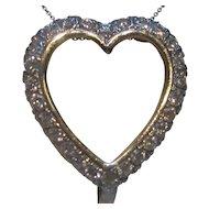 1950's Diamond Heart 14K White Gold Pendant