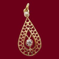 Edwardian 14 Karat Yellow Gold Diamond and Pearl Pear Shaped Moveable Pendant