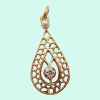 Edwardian 14 Karat Yellow Gold Diamond and Pearl Pear Shaped Moveable Pendant