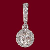 14 Karat White Gold Diamond Halo Drop Pendant