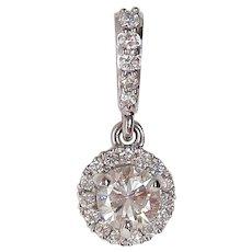14 Karat White Gold Diamond Halo Drop Pendant