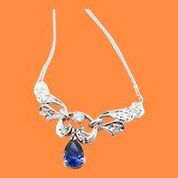 Diamond and Blue Sapphire 14 Karat White Gold Necklace