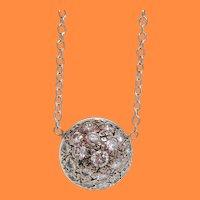 Antique Art Deco 14 Karat White Gold Diamond Dome Cluster Necklace