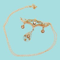 1900 Victorian 14K Yellow Gold Diamond and Seed Pearl Necklace