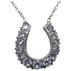 14 Karat White Gold Diamond Horseshoe Necklace