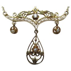 Art Nouveau Diamond Pearl  Gold Festoon Necklace
