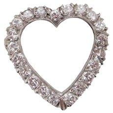 Vintage 14K White Gold Diamond Heart Brooch
