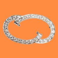 1915 Art Deco 14K White Gold Platinum Diamond Brooch