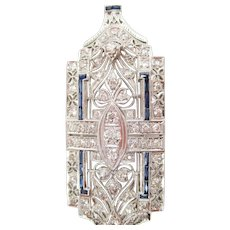 Art Deco Platinum Diamond Sapphire Convertible Pin Pendant
