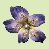 1900 Art Nouveau 18K Gold Enamel Diamond and Pearl Flower Pin Pendant