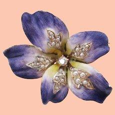 1900 Art Nouveau 18K Two Tone Gold Enamel Diamond and Seed Pearl Flower Pin Pendant