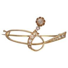 Russian Art Nouveau 14K Gold Diamond Brooch