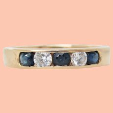 14K yellow Gold Sapphire and Diamond Band Ring