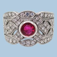 Art Deco Style Ruby Diamond Platinum Filigree Band