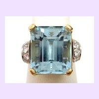 Vintage 1950s Platinum & 14K Gold Aquamarine Ring