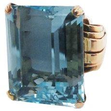 Art Deco 18K Rose Gold 28+ Carat Aquamarine Ring