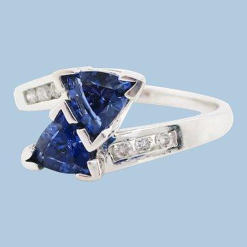 Vintage 14K White Gold Tanzanite Diamond Ring