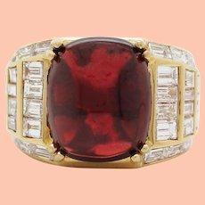 18K Yellow Gold Red Garnet Diamond Statement Ring