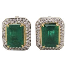 18 Karat White and Yellow Gold 5+ Carat Green Emerald Diamond Stud Earrings