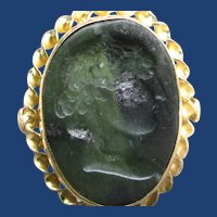 18K Yellow Gold Carved Serpentine Ring