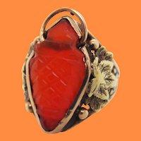 Arts & Crafts Handmade 14 Karat Yellow Gold Carnelian Ring with Grape Leaf Motif