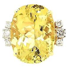 Golden Beryl and Diamond 18K Yellow Gold Ring