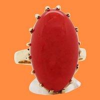 1890 Victorian 14 Karat Rose Gold Natural Red Coral Cabochon Ring