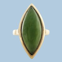 Vintage 14K Yellow Gold and Green Jade Ring