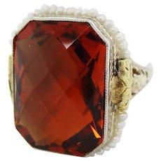 1920s Filigree 14K White Gold Filigree Citrine Seed Pearl Ring