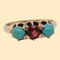 1890 Victorian 14K Yellow Gold Garnet and Turquoise Three Stone Ring