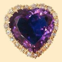 Vintage 14 Karat Yellow Gold Heart Shaped Amethyst and Diamond Midcentury Ring