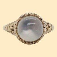 1890 Victorian 14K Yellow Gold Cat's Eye Moonstone Ring