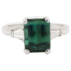 Green Tourmaline and Tapered Baguette Diamond Platinum Ring