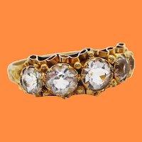 English Hand Engraved 15K Yellow Gold White Zircon Ruffle Ring