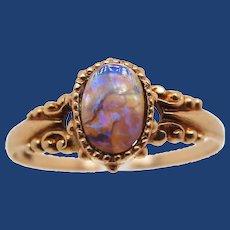 Victorian 10K Rose Gold Black Opal Ring
