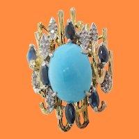 Midcentury 18K Gold Platinum Turquoise Sapphire Diamond Cocktail Dinner Ring
