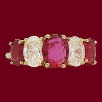 18 Karat Yellow Gold Ruby and Diamond Kurt Wayne Five-Stone Ring