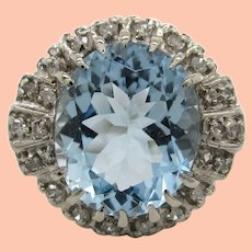 1960's 14K White Gold Diamond and Aquamarine Statement Ring