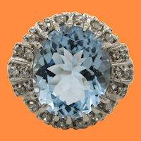 1960's 14K White Gold Diamond and Aquamarine Statement Ring