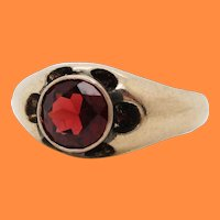 1890's Victorian 14K Yellow Gold and Red Garnet Statement Ring