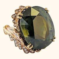 Midcentury Asymmetrical 45+Carat Green Zircon 18 Karat Statement Ring