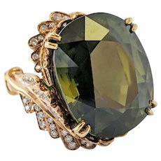 Midcentury Asymmetrical 45+Carat Green Zircon 18 Karat Statement Ring