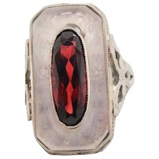 1920s 14 Karat White Gold Filigree Reverse Carved Quartz Red Garnet Ring